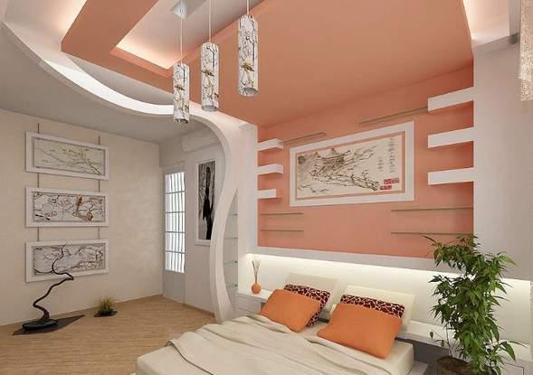 Спальня молодой девушки, персиковый цвет, восточные японские мотивы...